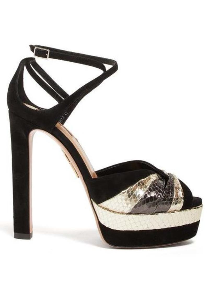 Aquazzura La Di Da 130 metallic-leather and suede sandals