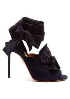 Aquazzura Legend 110 tassel-embellished suede sandals