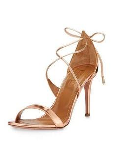 Aquazzura Linda Metallic Leather 75mm Sandal
