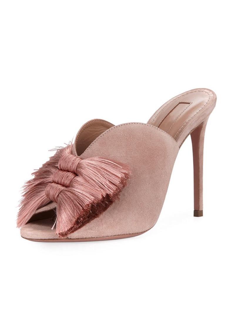 Aquazzura Lotus Blossom Tassel-Trim Mule Sandal