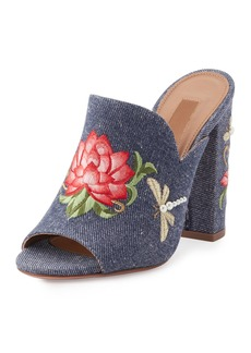 Aquazzura Lotus Embroidered Denim Mule Sandals