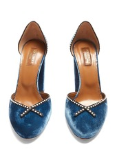 Aquazzura Lou Lou 110 embellished block-heel velvet pumps