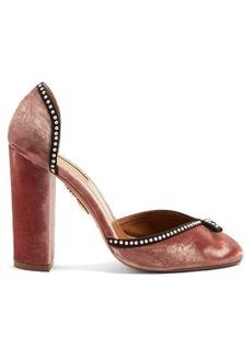Aquazzura Lou Lou embellished velvet block-heel pumps