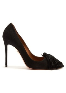 Aquazzura Love tassel suede pumps