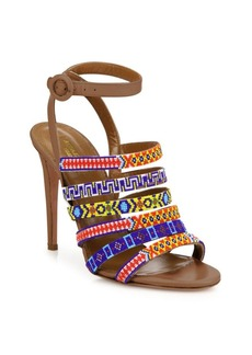 Aquazzura Masai Beaded Strappy Leather Ankle-Strap Sandals