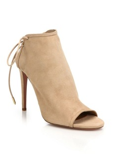 Aquazzura Mayfair Suede Lace-Up Peep Toe Booties