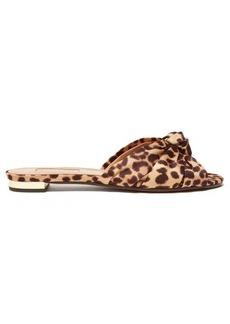 Aquazzura Menorca knotted leopard-print twill slides