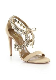 Aquazzura Milla Crystal Fringe Suede Sandals
