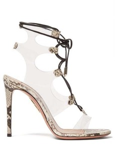 Aquazzura Milons 105 snake-print leather sandals