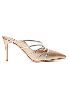 Aquazzura Minou 85 metallic-leather mules