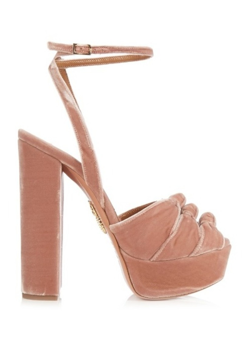 8314ce12c6f9 Aquazzura Aquazzura Mira knot velvet platform sandals