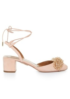 Aquazzura Monaco bead-embellished block-heel suede pumps