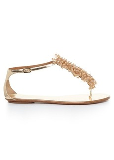 Aquazzura Monaco bead-embellished leather flats