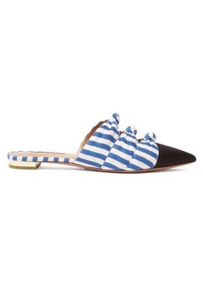 Aquazzura Mondaine knotted striped backless loafers
