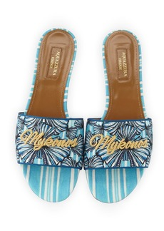 Aquazzura Mykonos Shell-Print Slide Sandals