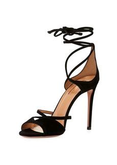 Aquazzura Nathalie Suede Ankle-Tie Sandal