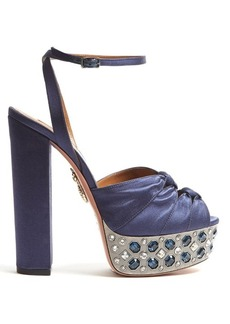 Aquazzura Party Plateau crystal-embellished satin sandals