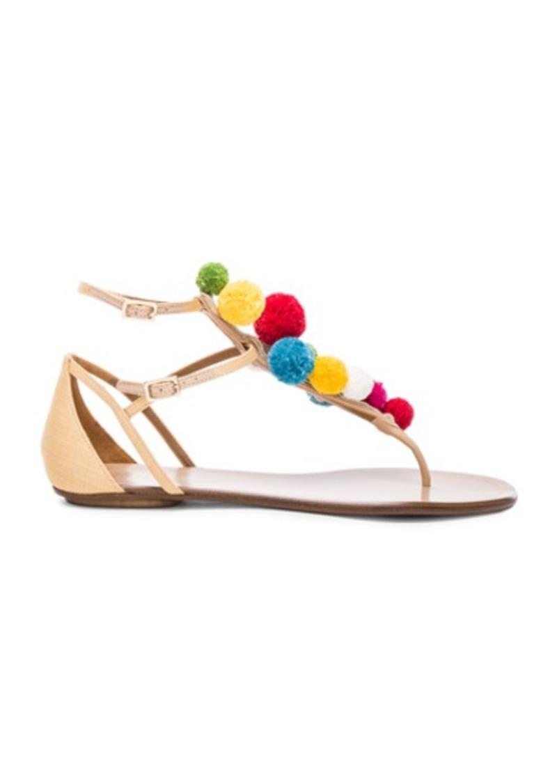 Aquazzura Pom Pom Leather Infra Sandals