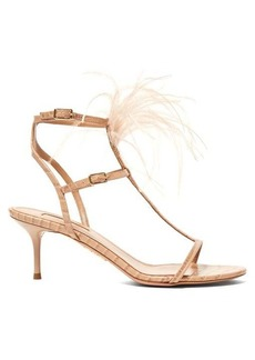 Aquazzura Ponza 60 feather-embellished leather sandals