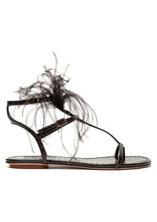 Aquazzura Ponza feather-embellished leather sandals