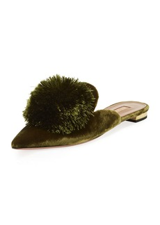 Aquazzura Powder Puff Pompom Mule Flat
