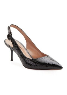 Aquazzura Pure Croc-Embossed Slingback Pumps