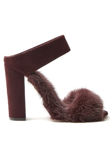 Aquazzura Purr Purr 115 fur-trimmed suede sandals