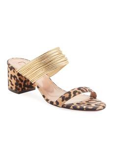 Aquazzura Rendez Vou Leopard Jacquard Sandals