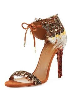 Aquazzura Rio Feather Ankle-Tie Sandal