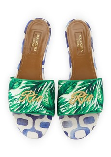 Aquazzura Rio Palm-Print Slide Sandals