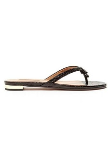 Aquazzura Riva crocodile-effect leather slides