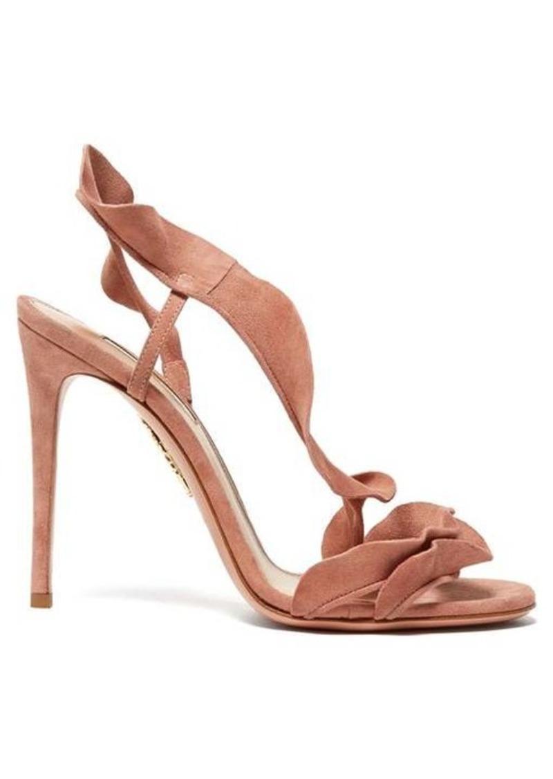 Aquazzura Ruffle 105 suede sandals