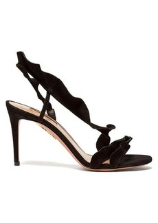 Aquazzura Ruffle 85 suede slingback sandals