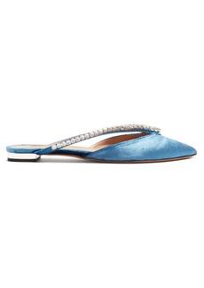 Aquazzura Sabine crystal-embellished velvet slipper shoes