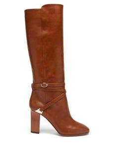 Aquazzura Saddle 90 leather below-the-knee boots