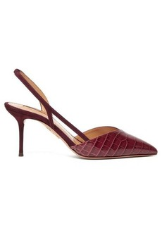 Aquazzura Salome 75 suede slingback pumps
