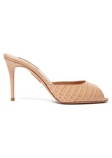 Aquazzura Samantha 85 crocodile-embossed leather mules