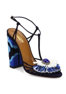 Aquazzura Samba Embellished Suede Block Heel Sandals