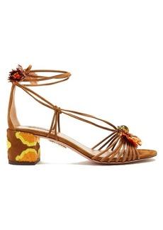 Aquazzura Samba raffia-embellished suede block-heel sandals