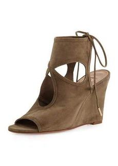 Aquazzura Sexy Thing Suede 85mm Wedge Sandal