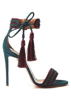 Aquazzura Shanty 110 tassel suede sandals