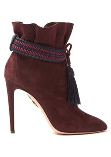 Aquazzura Shanty suede tassel-trimmed ankle boots