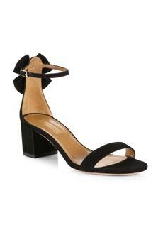 Aquazzura Siena Bow Suede Ankle-Strap Sandals