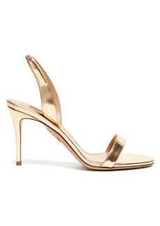 Aquazzura So Nude 85 mirrored-leather slingback sandals