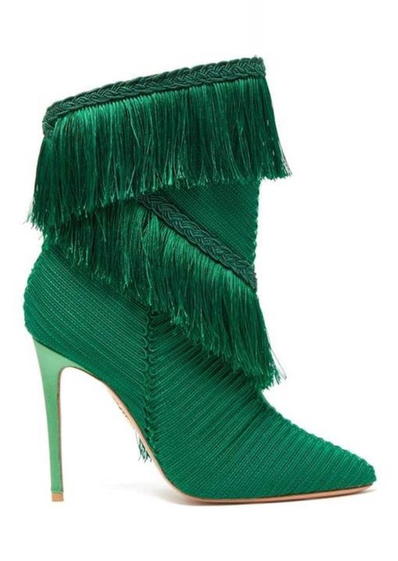 Aquazzura Soutage 105 fringed point-toe satin boots