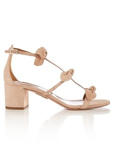 Aquazzura St. Tropez bow-embellished suede sandals