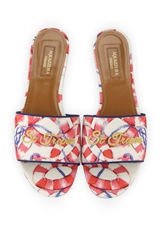 Aquazzura St. Tropez Embroidered Slide Sandals