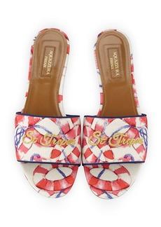 Aquazzura St. Tropez Embroidered Slide Sandals