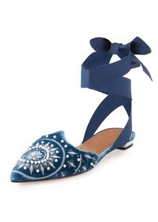 Aquazzura Stellar Embellished Velvet Ankle-Wrap Flat