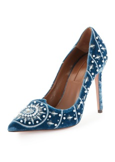 Aquazzura Stellar Pearly-Beaded Velvet Pump